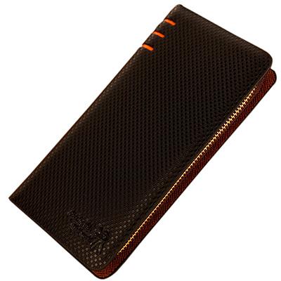 A-accessories-橘色三槓經典小格紋長夾手拿包-2色任選