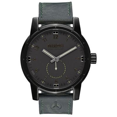 NIXON PATRIOT LEATHER 獨領風騷復古時尚腕錶-黑X綠/45mm