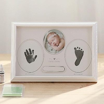 OnceBaby寶寶手足印紀念木質相框(桌上壁掛兩用型)