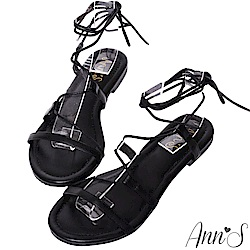 Ann'S腳部馬甲線-繫繩繞帶平底羅馬涼鞋-黑