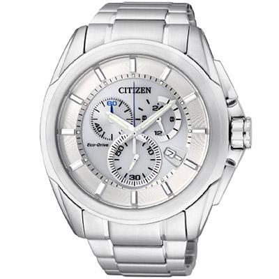 CITIZEN  Eco-Drive 終極競速光動能計時鋼帶碼錶(AT0821-59A)-銀白