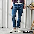 JEEP 女裝 復古高腰洗舊刷色牛仔褲-藍色