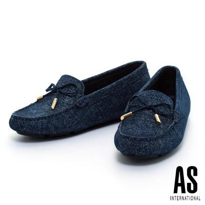AS-經典金屬扣蝴蝶結全真皮時尚休閒鞋-藍