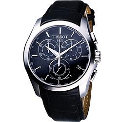 TISSOT Couturier 建構師系列計時皮帶錶-黑/39mm