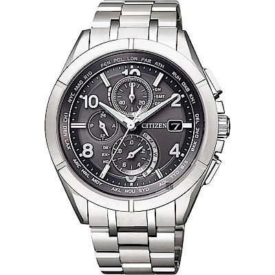 CITIZEN 星辰 光動能電波鈦金屬手錶-灰x銀/41mm(AT8160-55H)