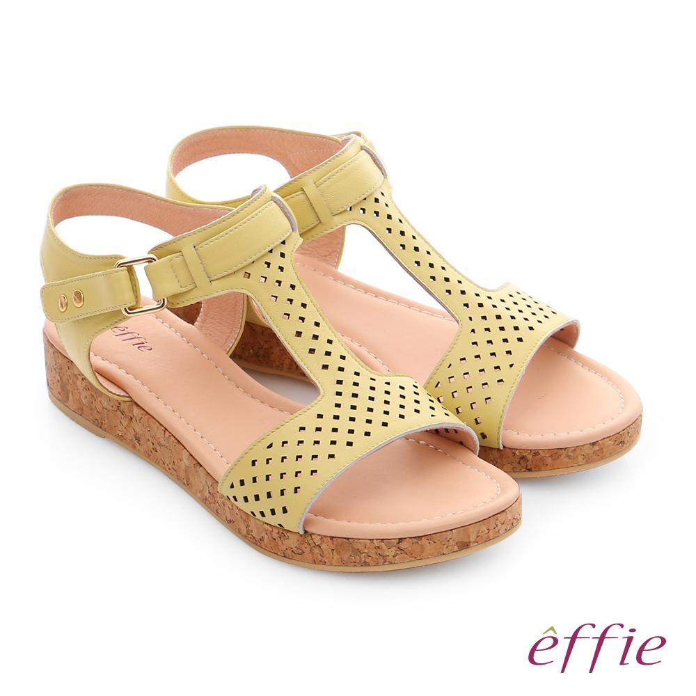 effie 嬉皮假期 真皮超輕透氣夏色涼拖鞋 黃色