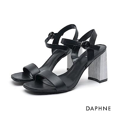 達芙妮DAPHNE 高跟鞋-一字帶繞踝圓釦高跟涼鞋-黑