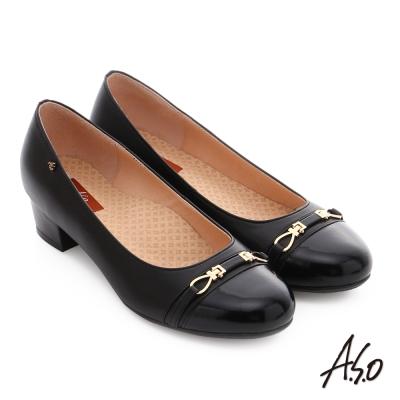 A.S.O 舒活寬楦 牛皮飾扣奈米窩心低跟鞋 黑色