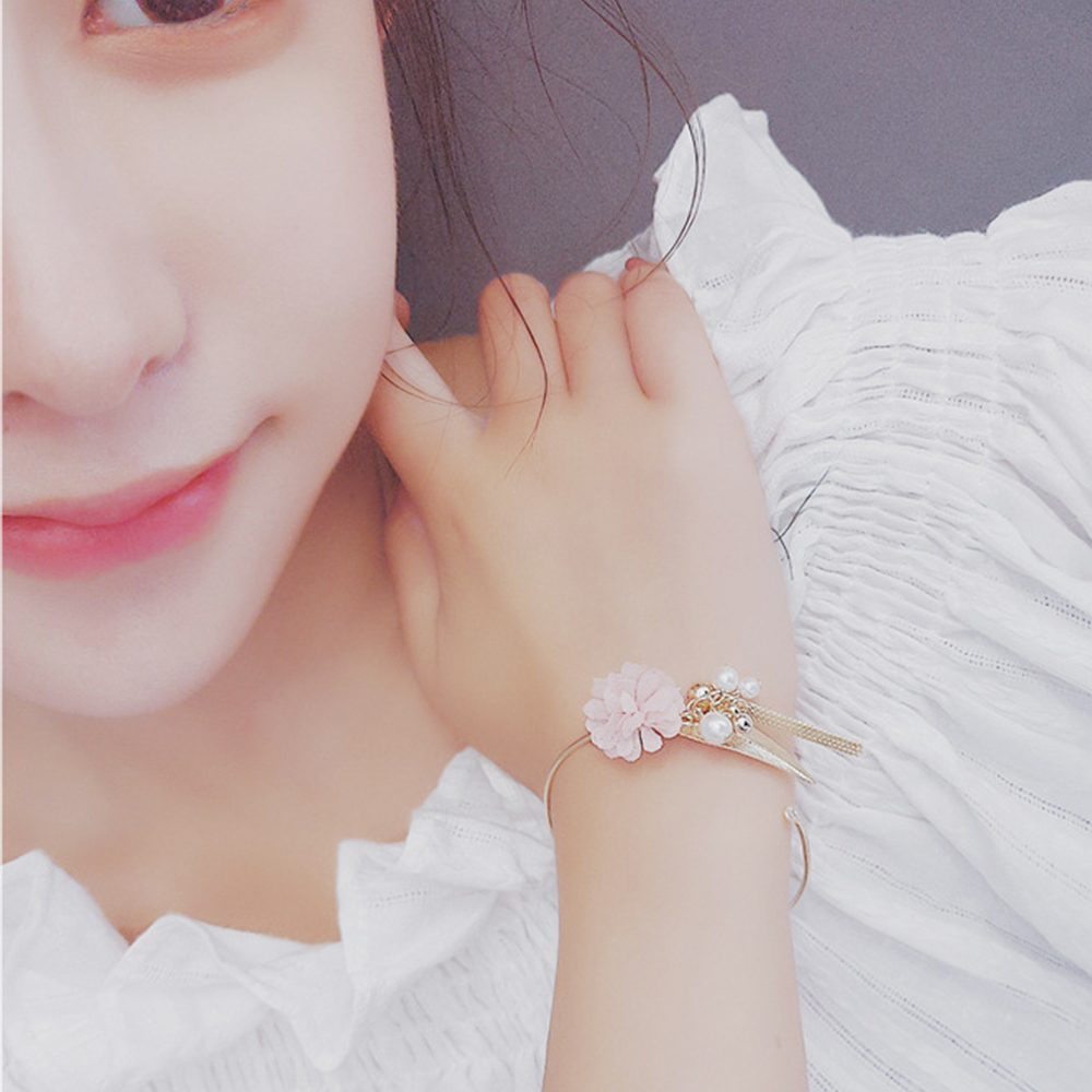 Hera 赫拉 韓版時尚甜美花朵流蘇珍珠開口手鐲-3色