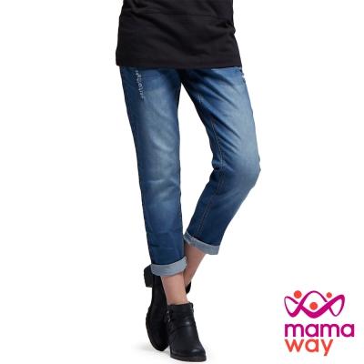 孕婦褲 孕婦牛仔褲 Boyfriend刷破牛仔孕婦褲(共二色) Mamaway