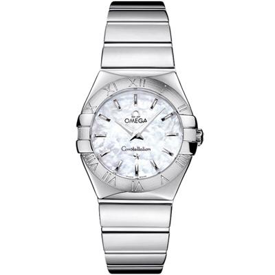 Omega 歐米茄constellation星座系列 白色珍珠貝殼表面石英腕錶-27mm