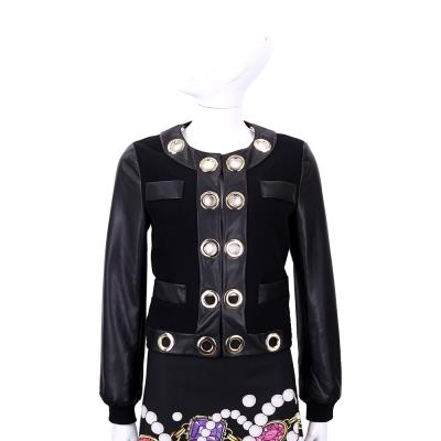 BOUTIQUE MOSCHINO 黑色拼接皮革金環設計羊毛外套