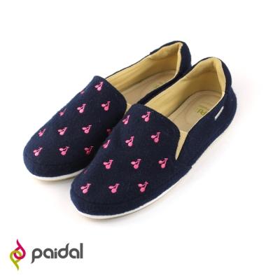 Paidal趣味櫻桃印花平底休閒鞋樂福鞋-俏麗藍