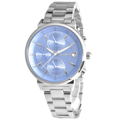 MANGO 理想美學不鏽鋼時尚腕錶-藍/37mm