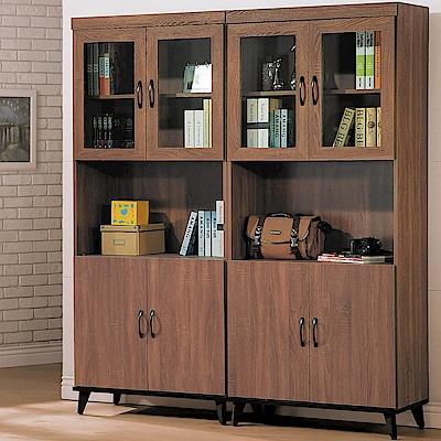 H&D 胡桃四門開放書櫥組 (寬161.6X深39.8X高192.5cm)