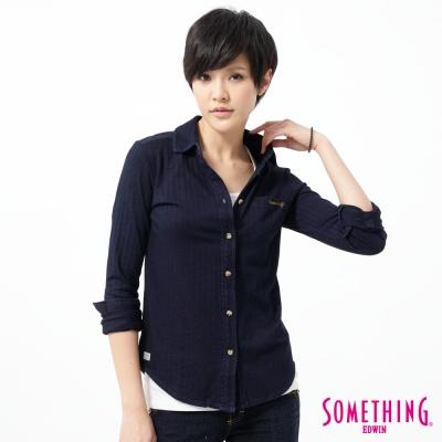SOMETHING 襯衫 漂染針織牛仔襯衫-女-原藍色