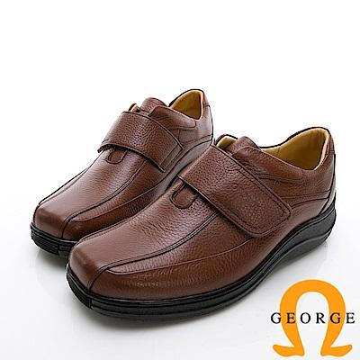 GEORGE 喬治-商務系列 魔鬼氈厚底紳士方頭皮鞋-棕