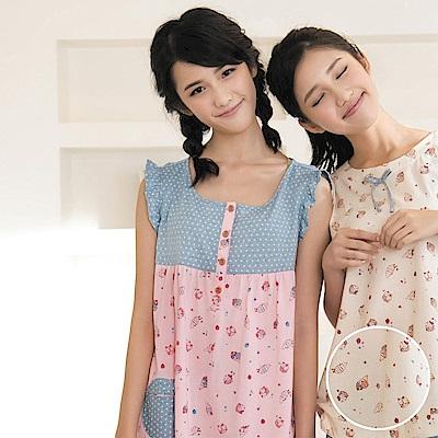 華歌爾Pretty Amy 夏日樂趣印花 M-L 短袖裙裝家居服(黃白藍)