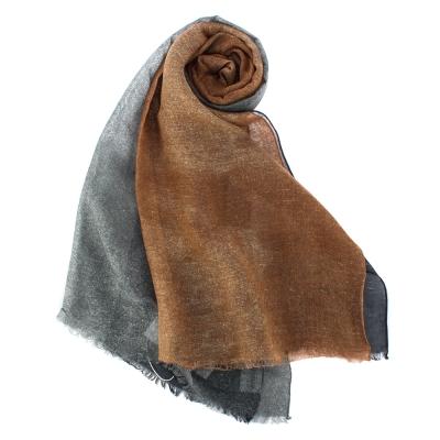 ARMANI COLLEZIONI 素面撞色混絲披肩圍巾-深藍/暗橘