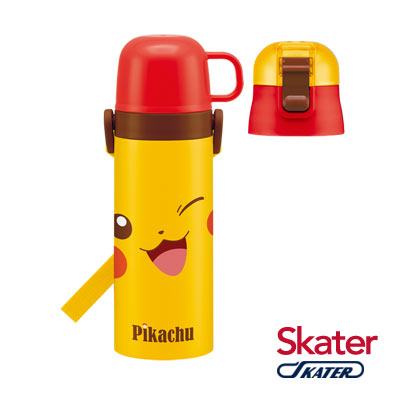 Skater不鏽鋼保溫水壺(2WAY)皮卡丘FACE