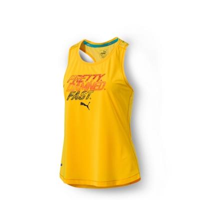 PUMA 女性慢跑系列PWRCOOL字樣運動背心-艷黃