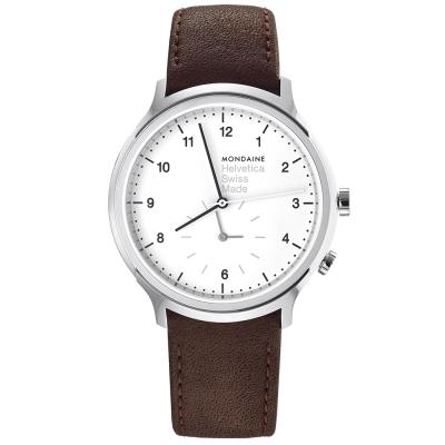 MONDAINE 瑞士國鐵設計系列雙時區腕錶-棕/40mm