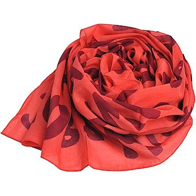MARC BY MARC JACOBS 塗鴉字母LOGO高質感造棉披肩/絲巾(橘紅)