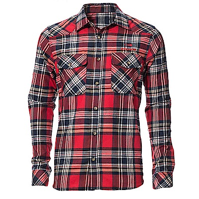 【EiDER】男抗起毬保暖透氣長袖格子襯衫-深藍紅