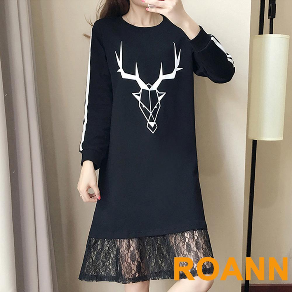 圓領糜鹿角圖案拼接蕾絲長袖洋裝 (黑色)-ROANN
