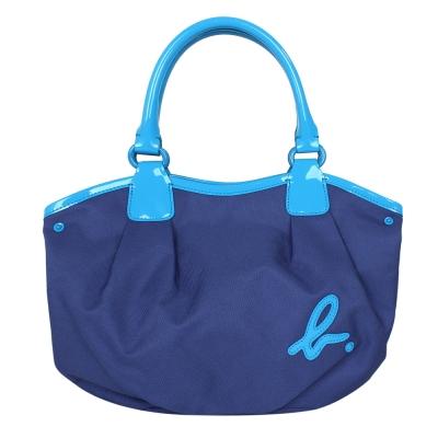agnes b. 帆布面漆皮車邊手提包-藍色/小