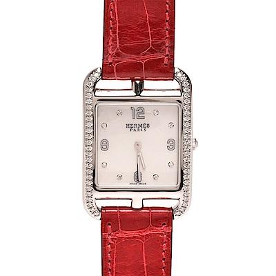 HERMES Cape Cod系列鑽石鑲嵌鱷魚皮銀框仕女腕錶(紅色-23mm)