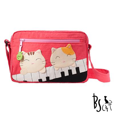 ABS貝斯貓 可愛貓咪拼布 側背包 肩背包 (粉) 88-201