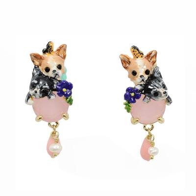 Les Nereides 吉娃娃系列粉紅寶石垂墜耳環 耳夾