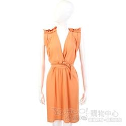 SEE BY CHLOE 橘色V領抓皺造型綁帶洋裝