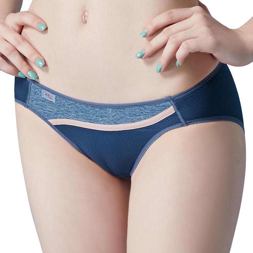 思薇爾 K.K.Fit系列M-XL素面低腰三角內褲(靄藍色)
