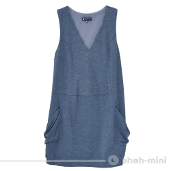 【ohoh-mini 孕婦裝】花之視覺V領大口袋背心洋裝