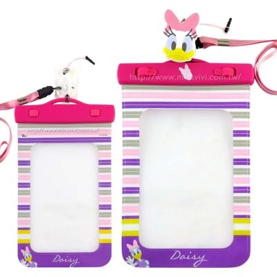 Disney迪士尼6吋通用可愛繽紛手機防水袋(附夾子捲線器耳機塞)-黛西