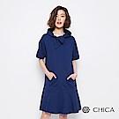 CHICA 俏皮女孩領口綁帶連帽洋裝(3色)
