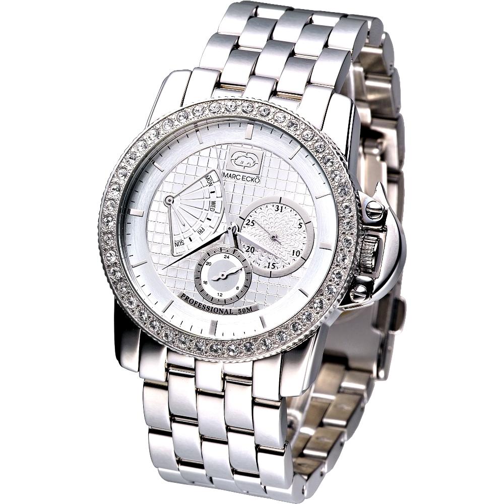 MARC ECKO 雅爵星期逆跳三環晶鑽腕錶(二件式錶框限量版)-白/40mm