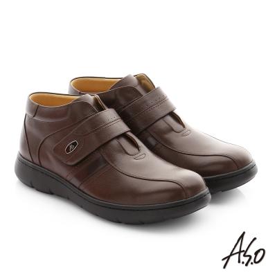 A.S.O 職場通勤 3E寬楦牛皮魔鬼氈半高筒紳士皮鞋 咖啡色