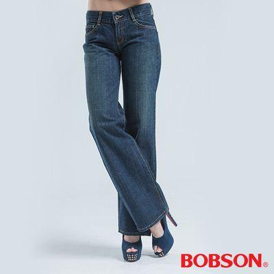 BOBSON 超低腰後大袋繡花褲-藍色