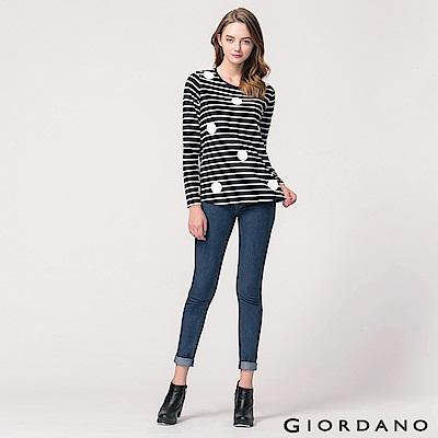 GIORDANO 女裝簡約彈力棉修身窄管牛仔褲 - 57 中藍