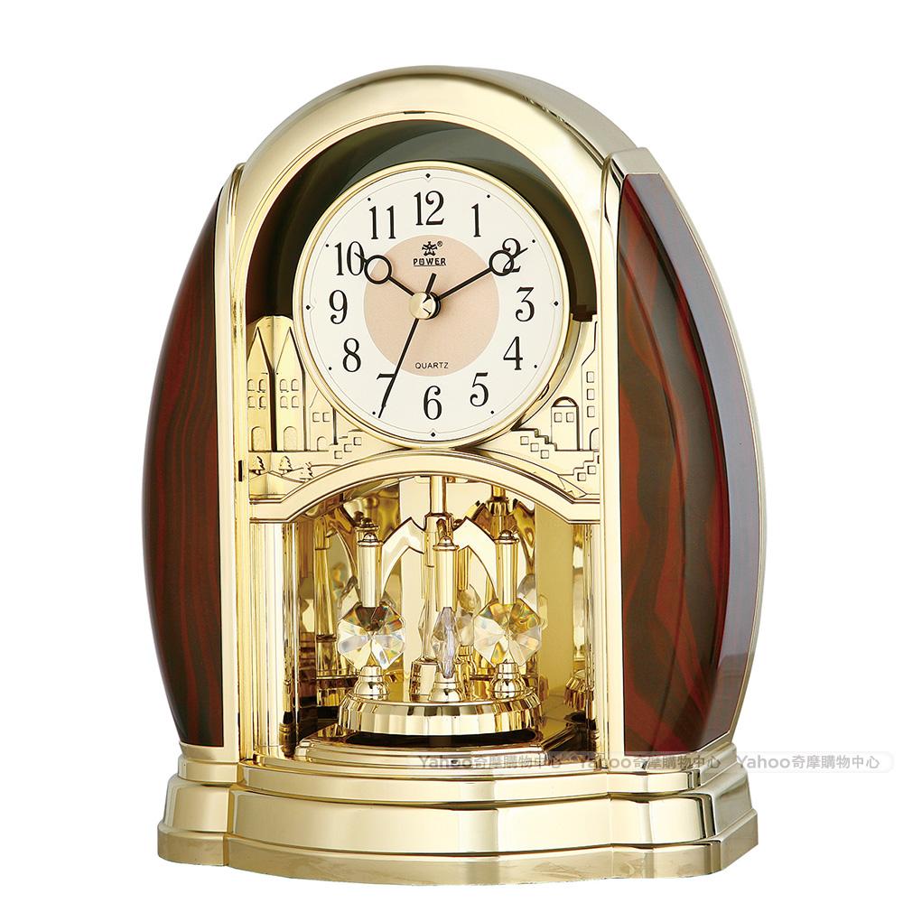 POWER霸王鐘錶-高品質座鐘-耀金紅木-PW-4208-ARKS2-23.2CM