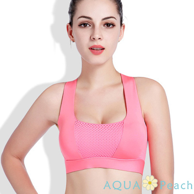 運動內衣 加寬交叉線條美背涼感背心 (粉色)-AQUA Peach