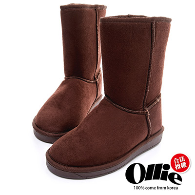 Ollie韓國空運-正韓製經典款布標增高中筒雪靴-可可