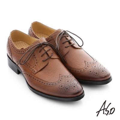 A.S.O 3D超動能 牛皮綁帶真皮奈米紳士鞋 茶色