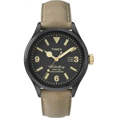 TIMEX 天美時經典潮流手錶 Waterbury系列 -黑面/褐色帶-40mm