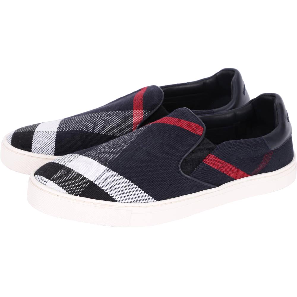 BURBERRY 經典格紋棉麻材質便鞋(海軍藍/男)