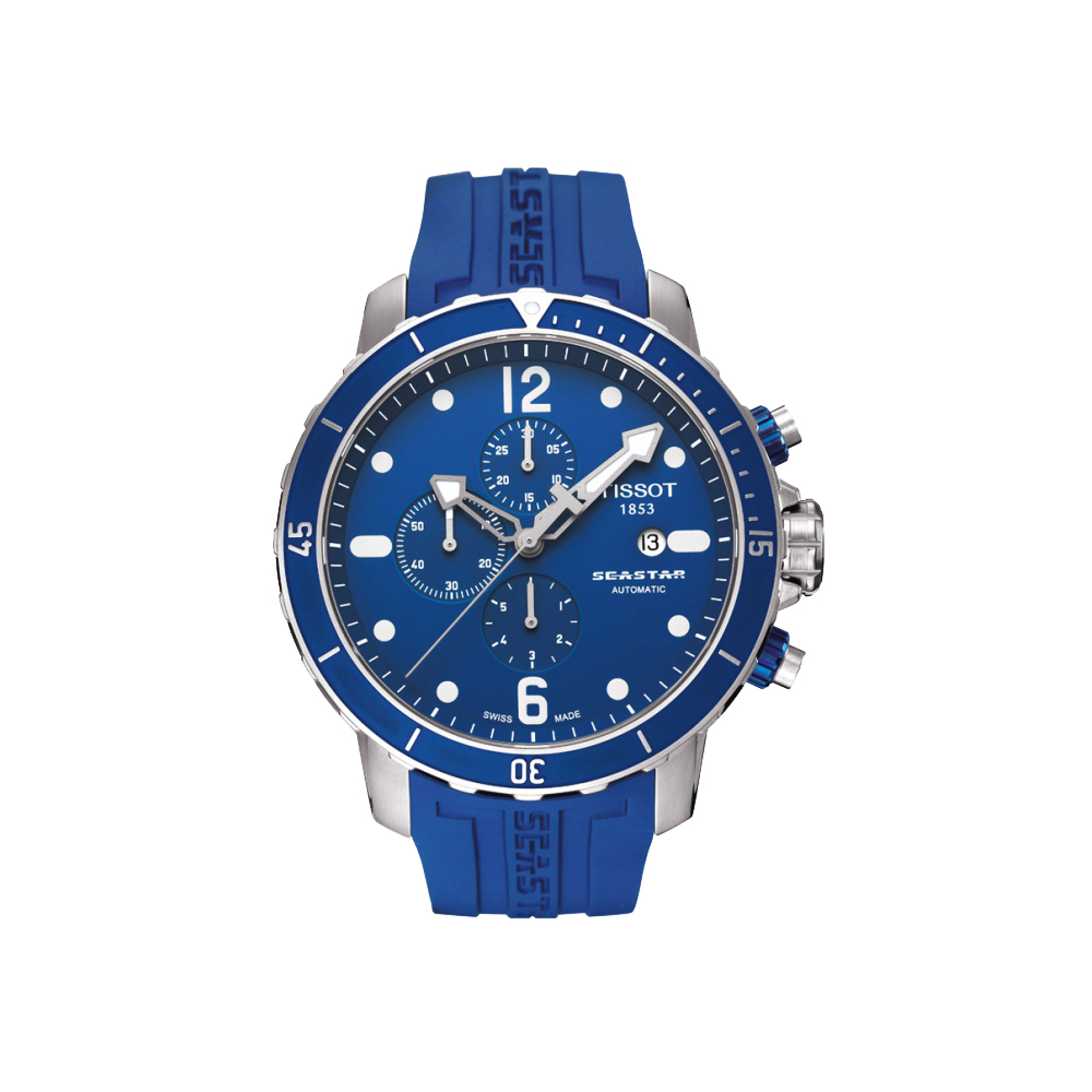 TISSOT Seastar 300米專業計時排氦潛水機械腕錶-藍/48mm