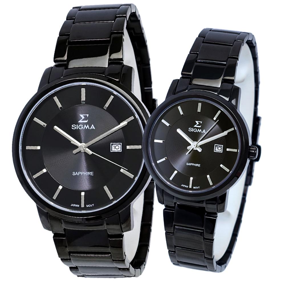 SIGMA 質感簡約藍寶石時尚情人對錶-黑/30/40mm